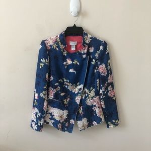 Soft Surroundings Blue Floral Blazer- Size 4